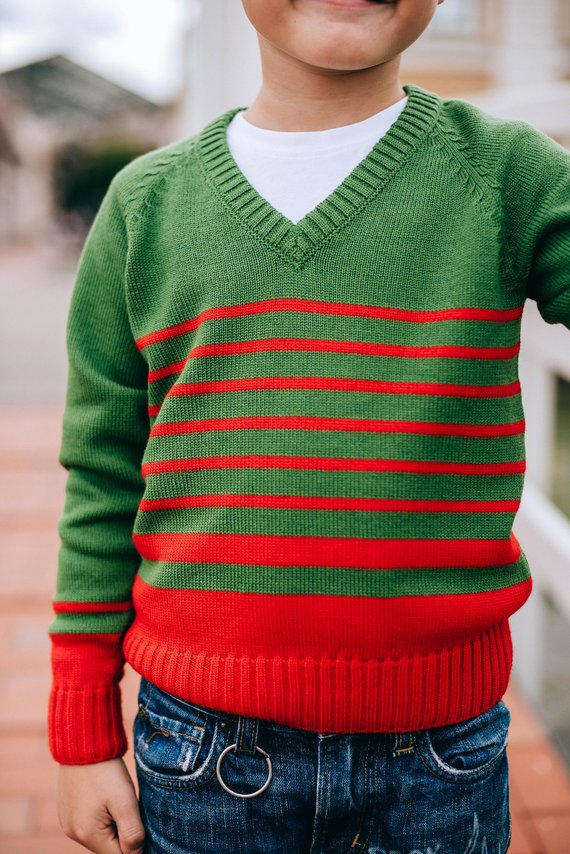 077acac642c5 Green sweater with red stripes Knitted sweater Pullover Oversized ...