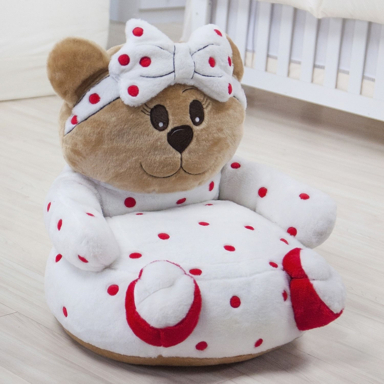 Mini Poltrona de Pelúcia Ursa Baby Vermelha Baby decor