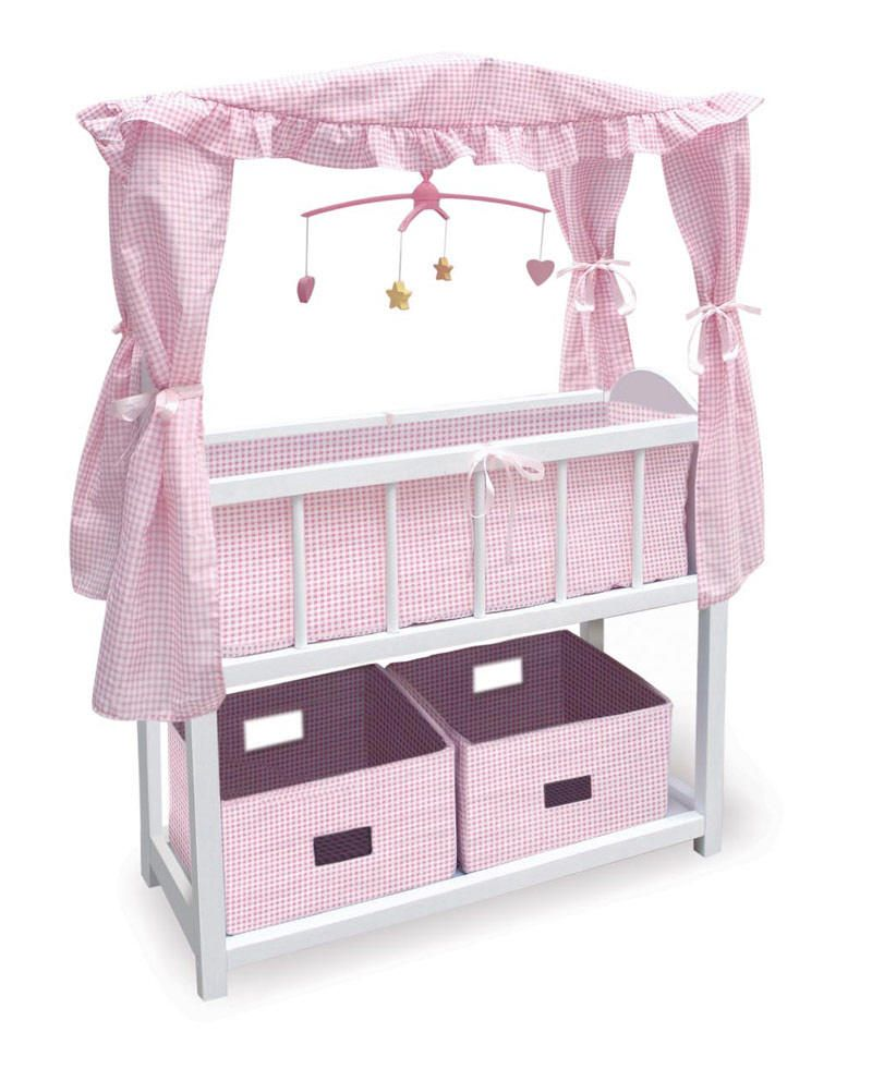 Wooden Doll Changing Table | White Doll Crib W/Cabinet, Bedding U0026 Mobile