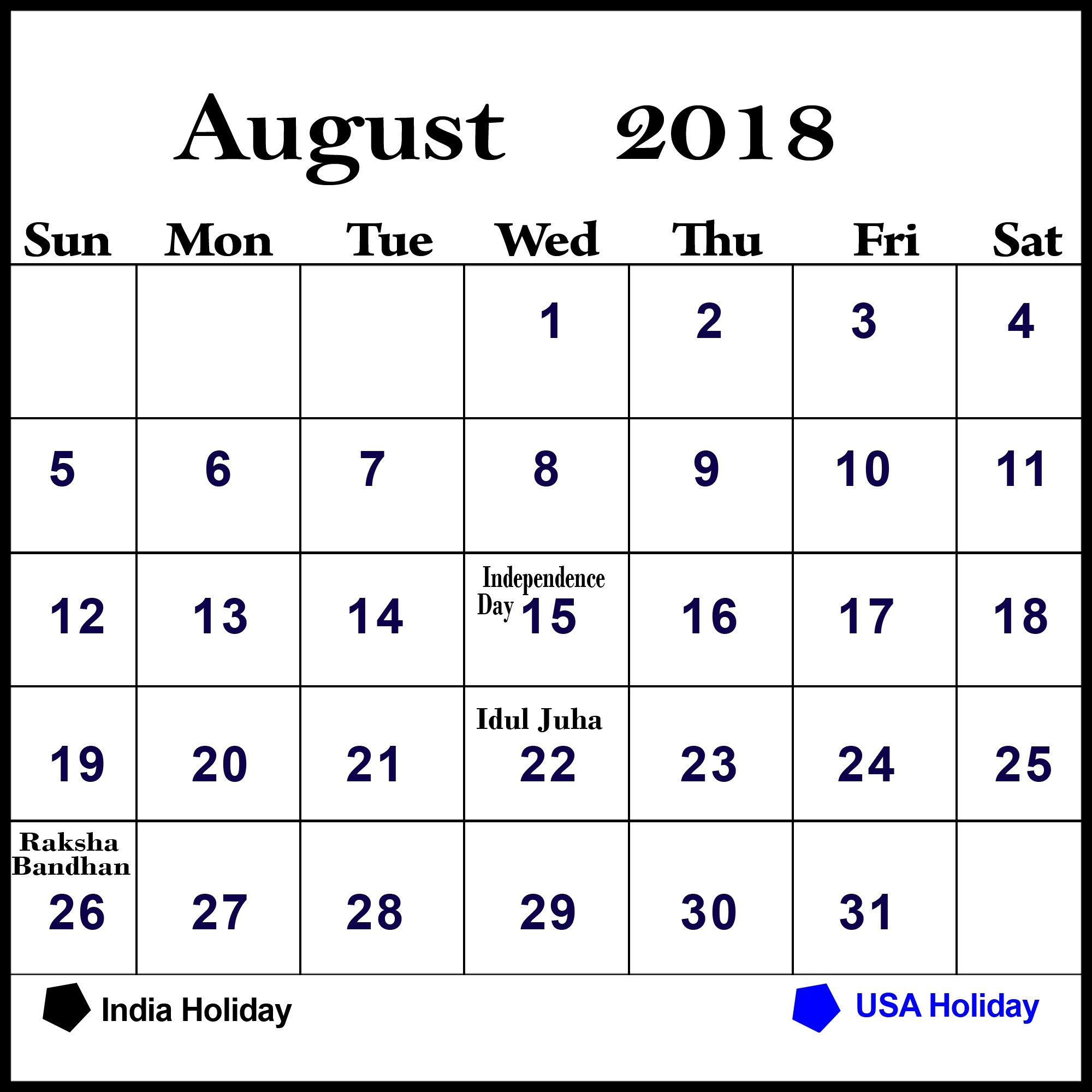 August 2018 Calendar Pdf Word Excel Free Printable Templates Http