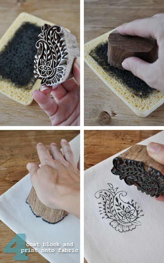 Make Your Own Cheap Inkpad Using A Kitchen Sponge And Some Acrylic Craft Paint Carved Stamps Printing On Fabric Fabric Stamping Block Printing Designs