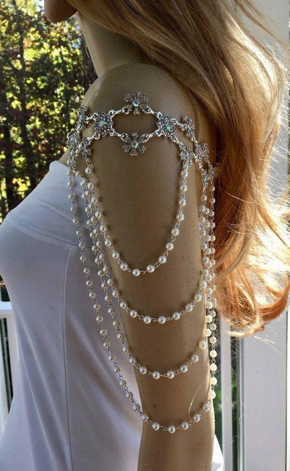 Wedding Shoulder Necklace Pearl Shoulder Necklace