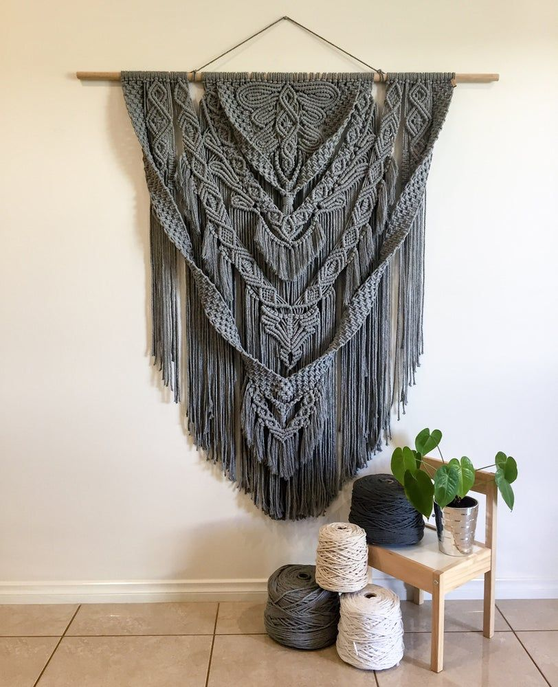 Grey Mist Custom Made Macrame Wall Hanging Macrame Wall Hanger Large Macrame Wall Hanging Macrame Wall Hanging Diy