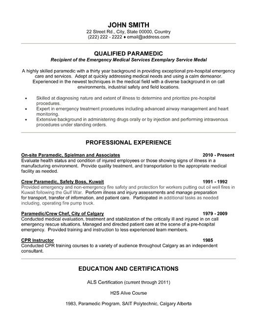 97 Paramedic Sample Resume Click Here To Download This