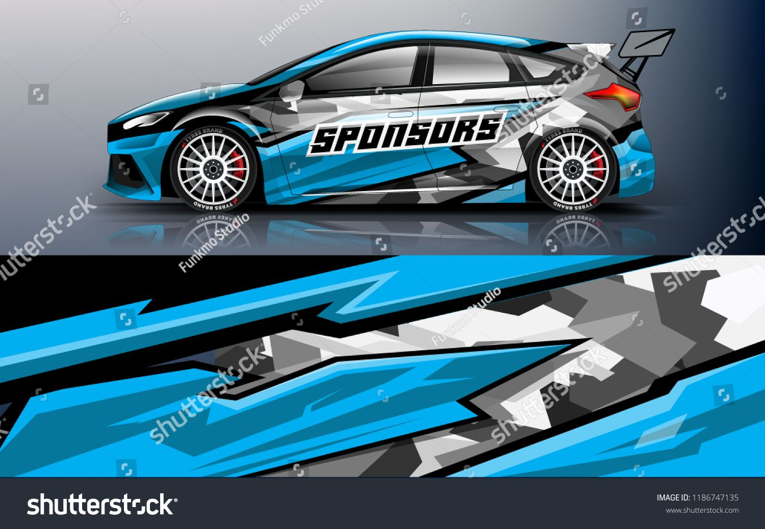 Blue racing hatchback wrap