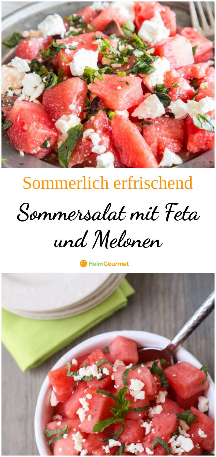 Erfrischender Sommersalat mit Feta und Melonen