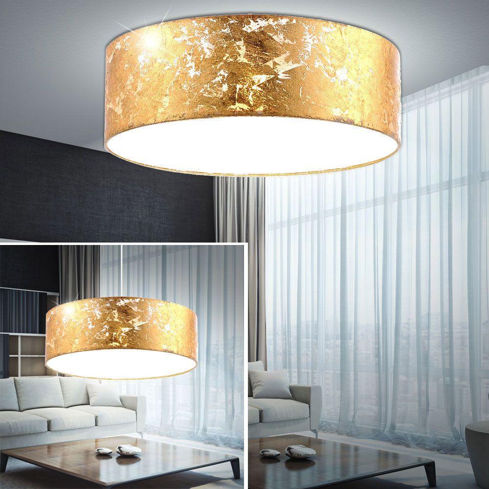 design led decken leuchte gold textil schirm küchen pendel