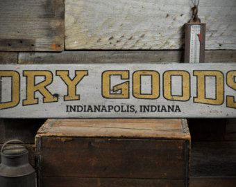 Dry Goods City State Wood Sign, Custom Mercantile Store