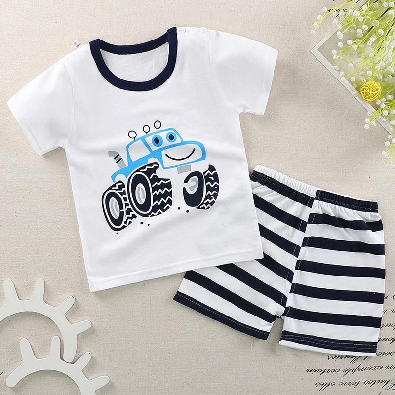 18aa2905ad334 Baby Boy newborn Clothes 2018 Summer Brand Infant Clothing Elephant Short  Sleeved T-shirts Tops Striped Pants Kids Suits romper. Yesterday's price:  US $4.96 ...