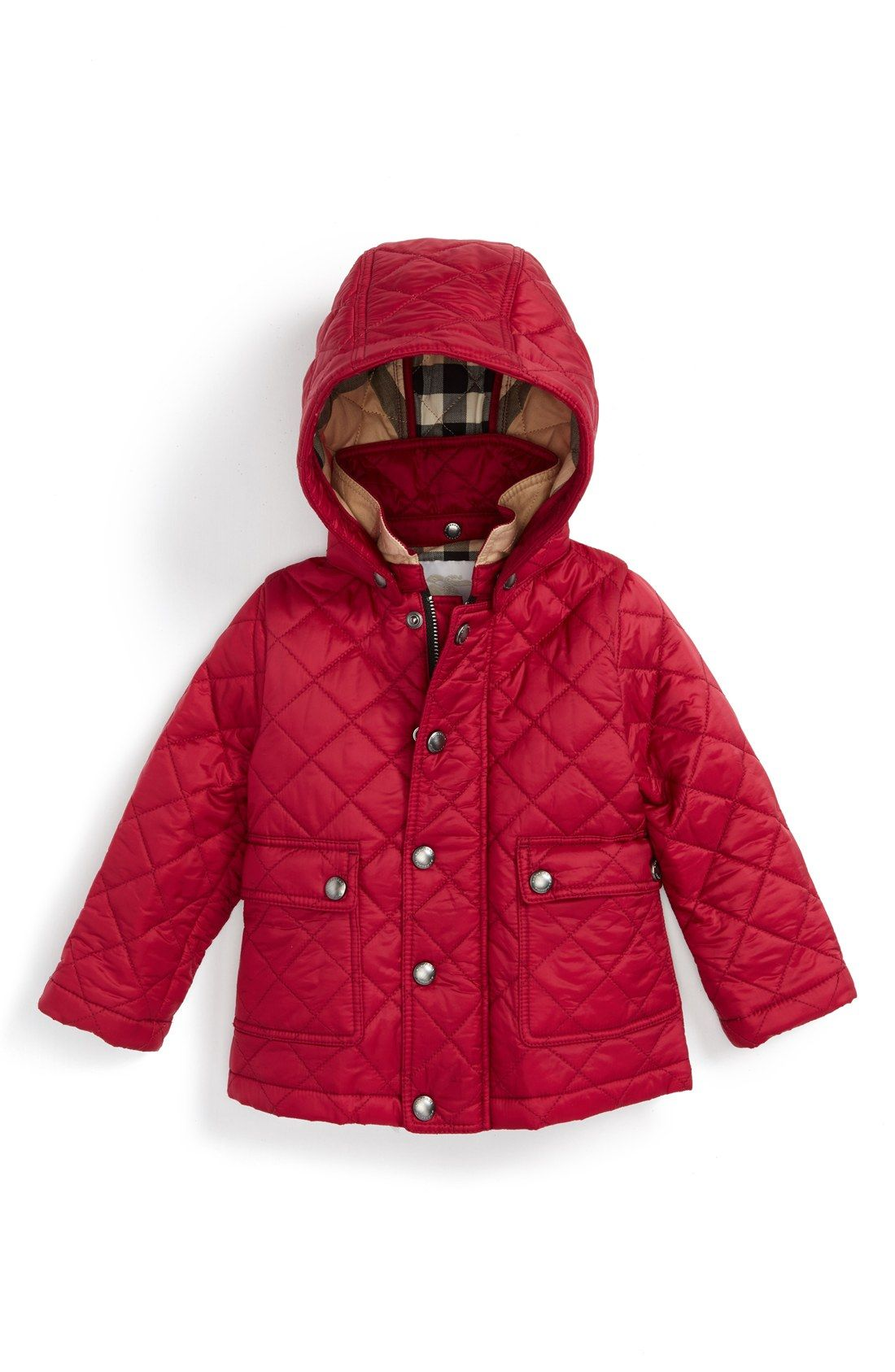 Burberry 'Jamie' Quilted Hooded Puffer Jacket (Baby Girls