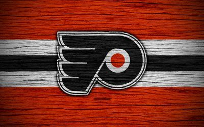 Philadelphia Flyers, 4k, NHL, hockey club, Eastern Conference, USA, logo, wooden texture, hockey, Metropolitan Division