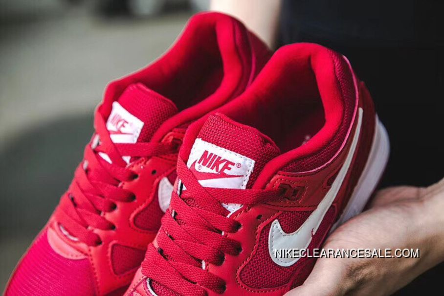 New Nike Air Span II Air Cushion Unisex Sports Casual Shoes Red White 2018 For Sale