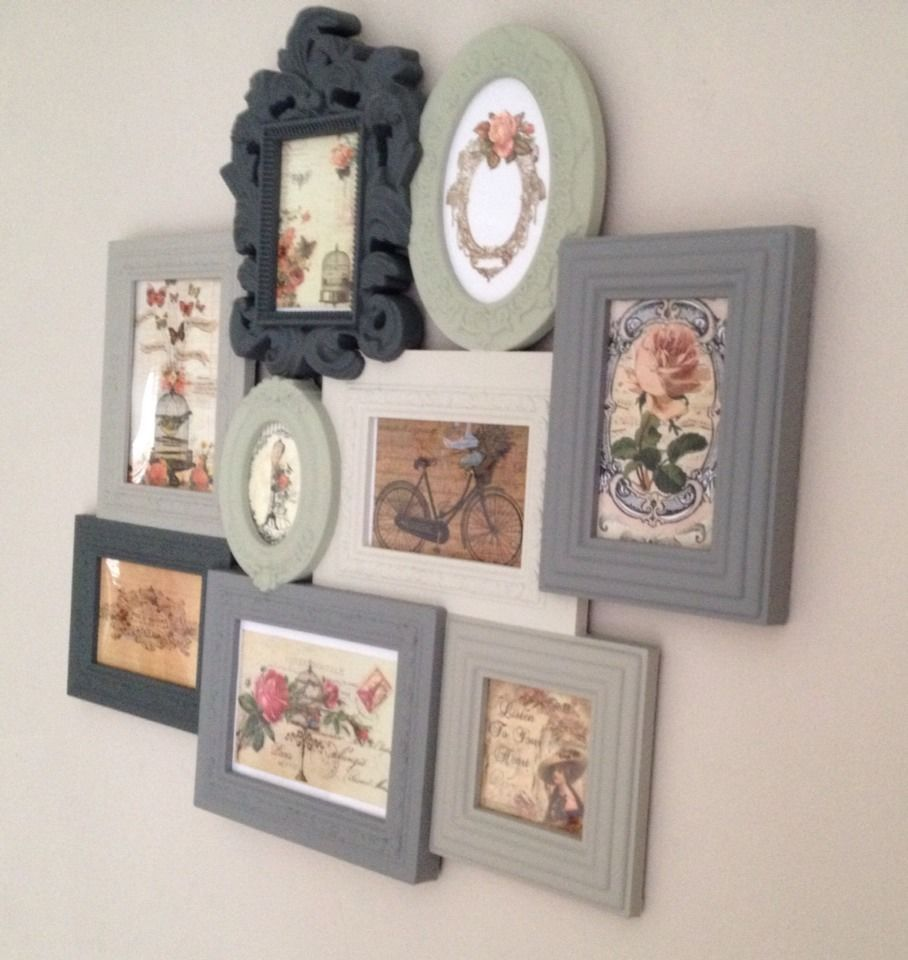 Shabby chic vintage photo picture frames multi frame for Multi frame wall art