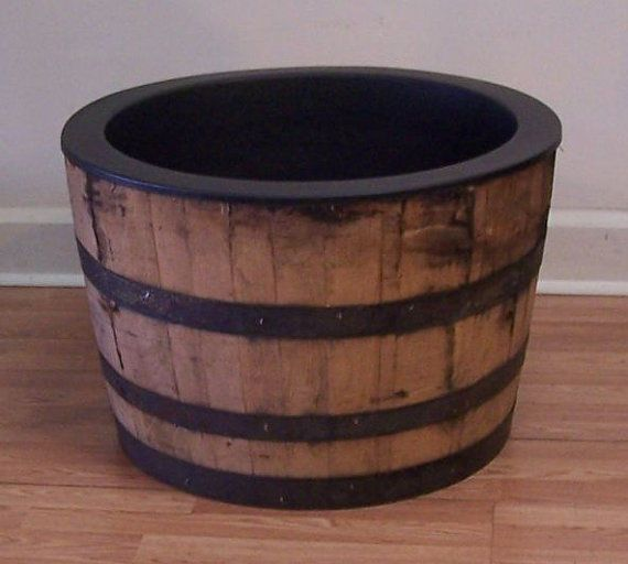 Half White Oak Whiskey Barrel With Black Plastic Liner Whiskey Barrel Planter Whiskey Barrel Half Whiskey Barrels
