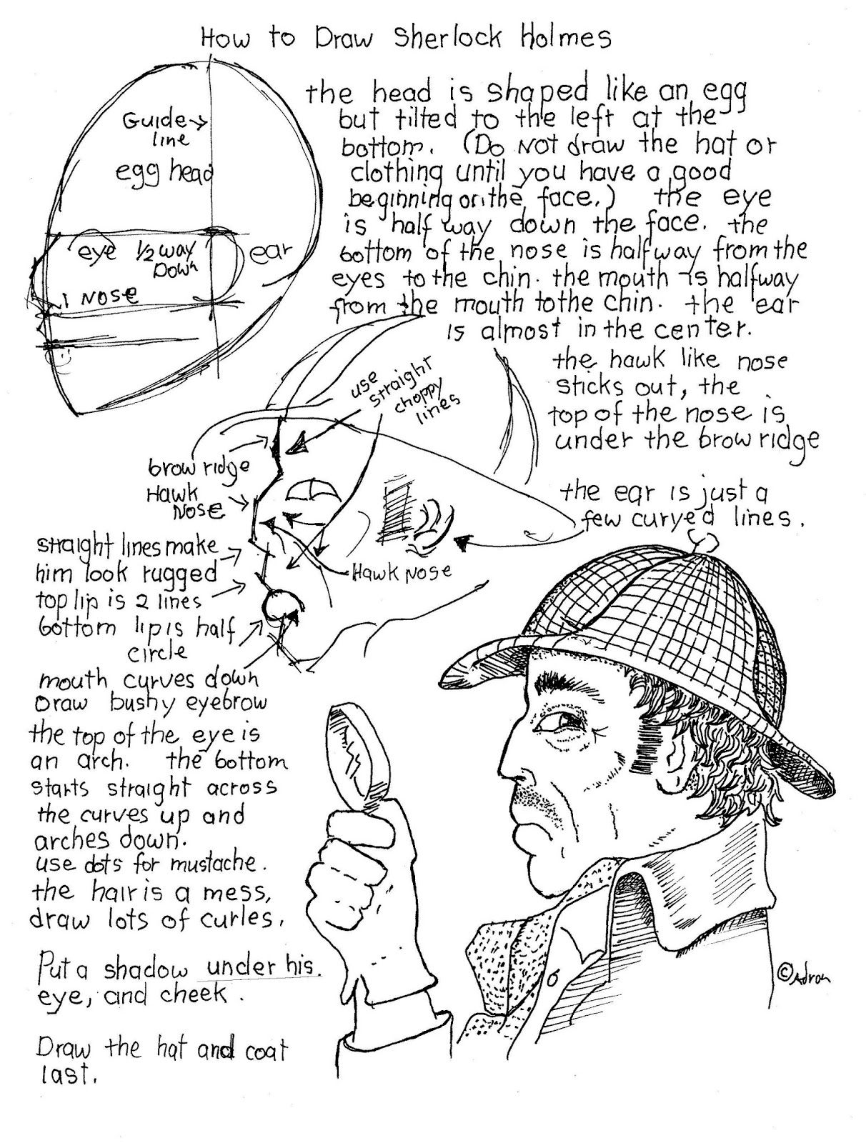 How To Draw Sherlock Holmes Worksheet Classic Pose