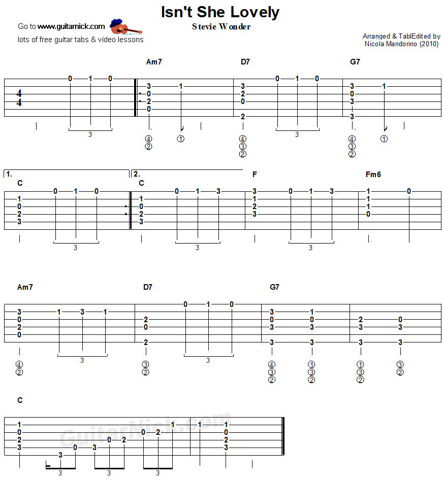 With free TABLATURE  chords and VIDEO tutorial  Learn to play this acoustic  fingerstyle guitar arrangement of ISN T SHE LOVELY by Stevie Wonder. Isn t She Lovely   fingerstyle guitar tablature   Fingerstyle
