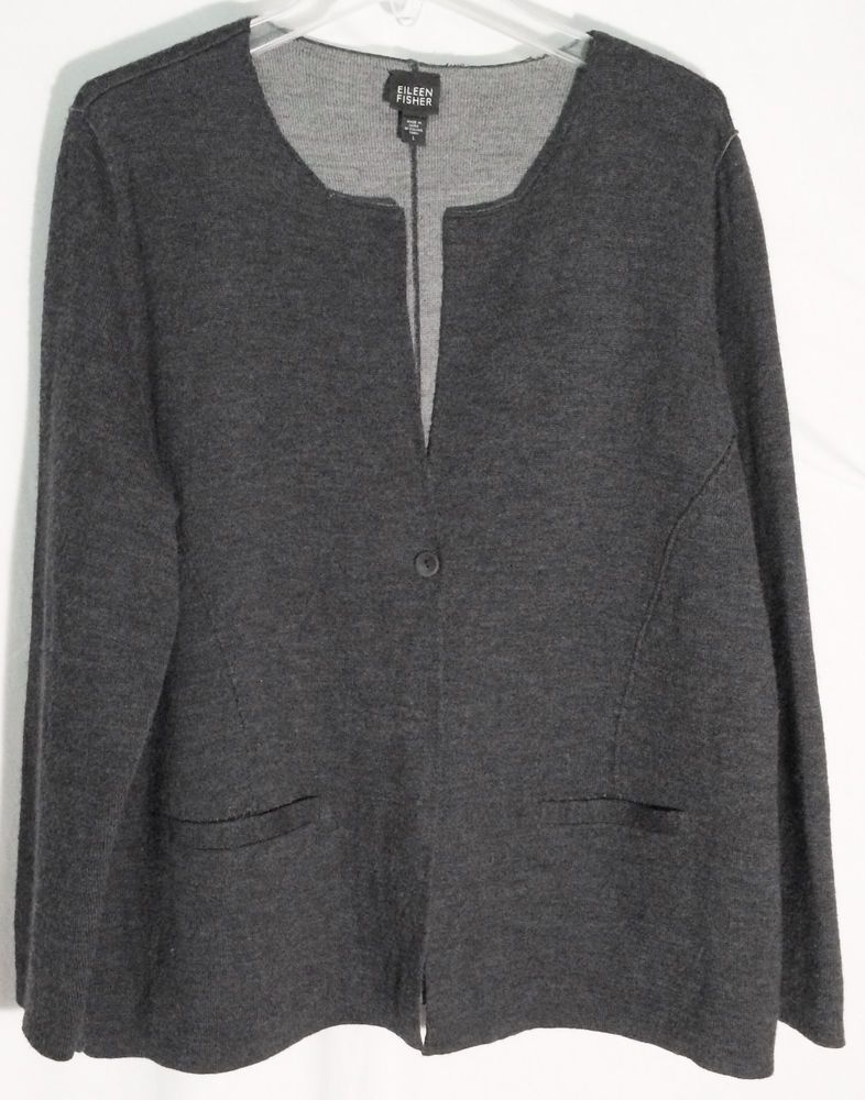 EILEEN FISHER Dark Heather Gray 100% Merino Wool Cardigan/Jacket ...