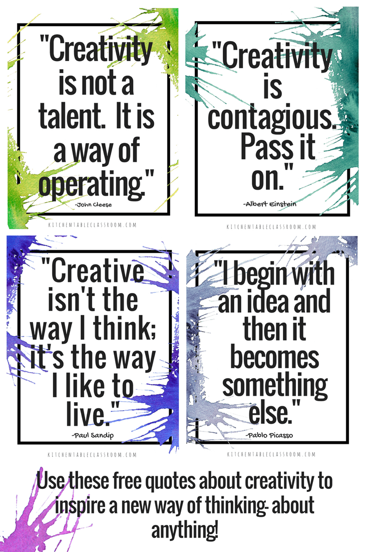 Creativity Quotes Learning To Think Outside The Box The Kitchen Table Classroom Creativity Quotes Quotes For Kids Inspirational Quotes