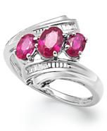 Sterling Silver Ruby (1 ct. t.w.) and Diamond Accent Three-Stone Ring