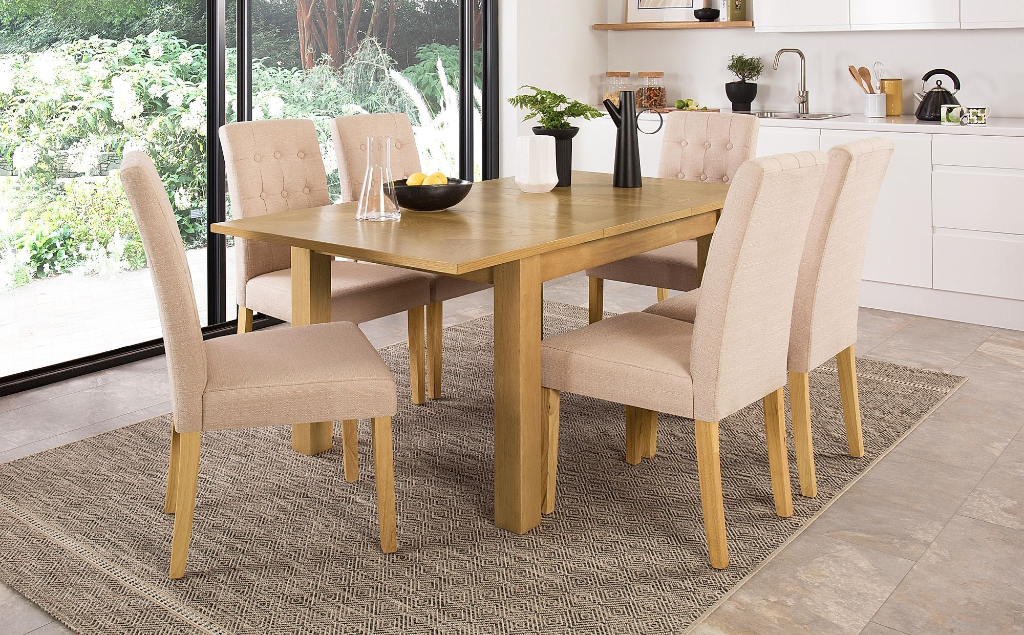 Madison 120 170cm Oak Extending Dining Table With 6 Regent Oatmeal Fabric Chairs Oak Extending Dining Table Extendable Dining Table Dining Table