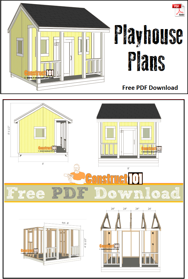 Playhouse Plans Free Pdf Download Material List And Step By Step Instructions Outdoorplayhouseplans Play Houses Build A Playhouse Playhouse Plans