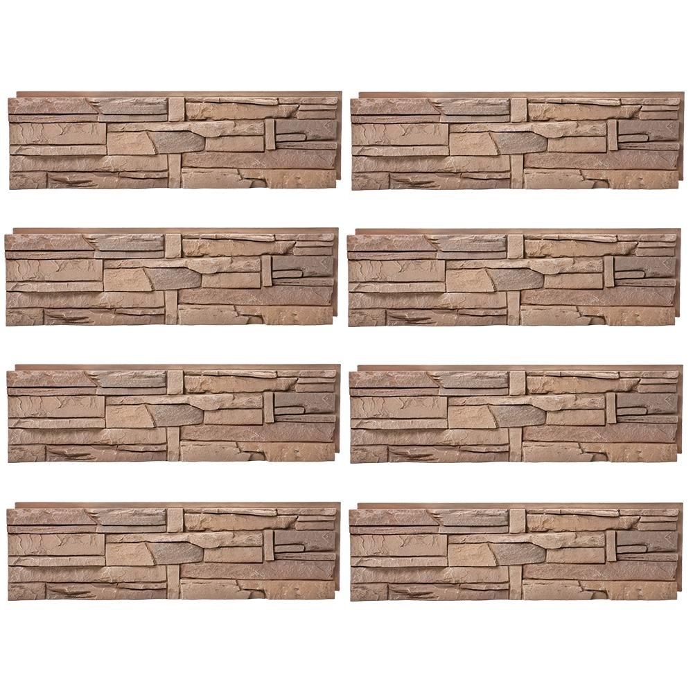 Genstone Stacked Stone Desert Sunrise 12 In X 42 In Faux Stone Siding Half Panel 8 Pack Faux Stone Siding Stone Siding Stacked Stone