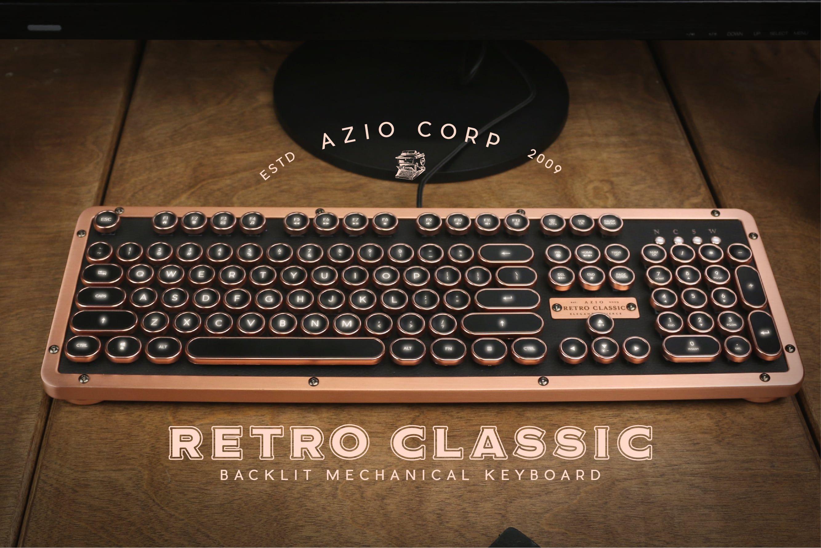 Azio Industry First Vintage Luxury Typewriter Inspired Mechanical Keyboard Retro Typewriter Typewriter Keyboard