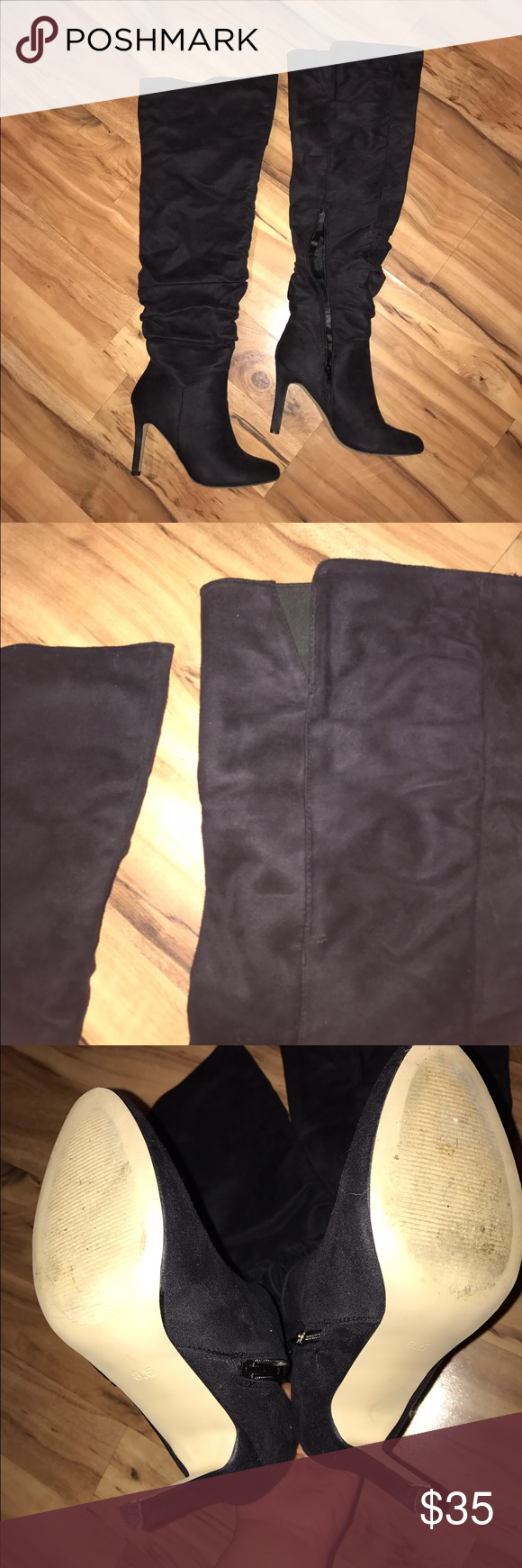 Over the knee wide calf boots Gently used Sexy over the knee wide calf faux suede boots. JustFab Shoes Over the Knee Boots