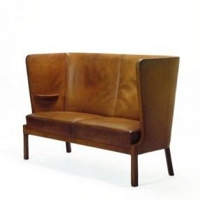 Easy Chair, C. 1935 Made By Fritz Henningsen. Leather And Stained Oak Chair,  C. 1935 Made By Fritz Henningsen. Leather And Mahogany Sofa, C.