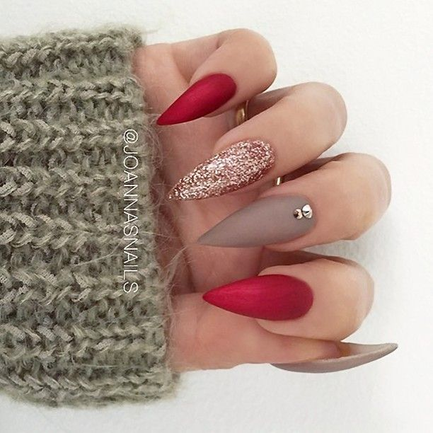 Repost Festive Stiletto Nails In Red Brown And Rose Gold Glitter Picture