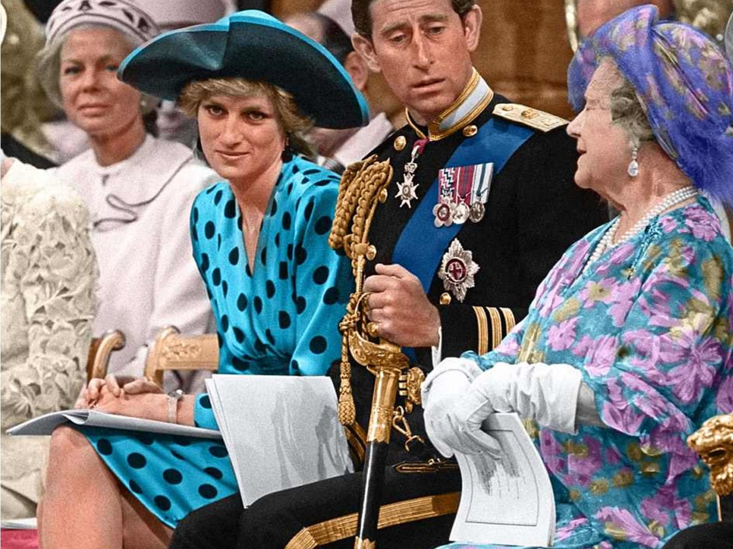 July 23, 1986 Princess Diana, Prince Charles and Queen
