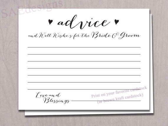 Wedding Bridal Shower Advice For The Bride Groom Newlyweds Mr Mrs Card Instant Diy Printable Reception