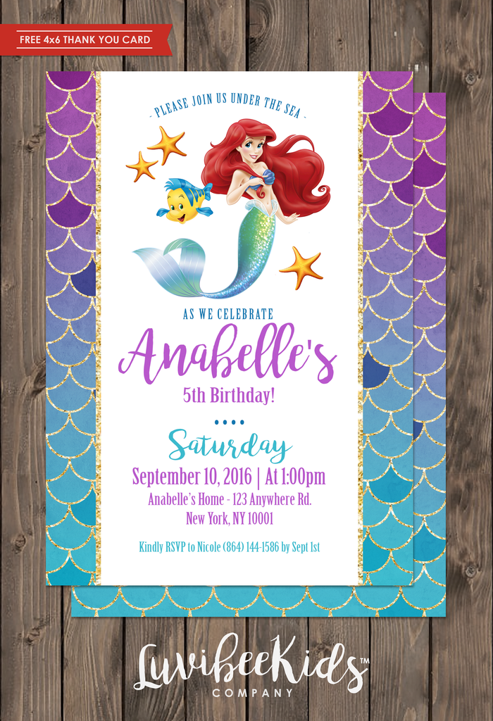 Little Mermaid Invitation Free Backside Thank You Card New