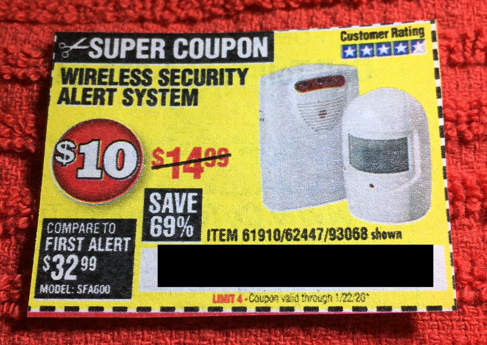 Coupon to save on Wireless Security Alert System