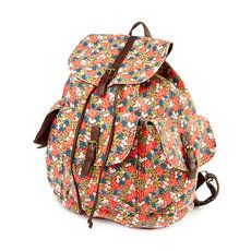 Bright Coral Floral Print Backpack