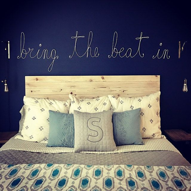 bedroom wall decor mcwonderland white rope lettering and blue wall ...