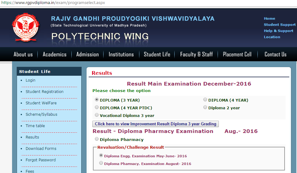 Rgpv Diploma Result 3rd Year Faculty And Staff Student Life