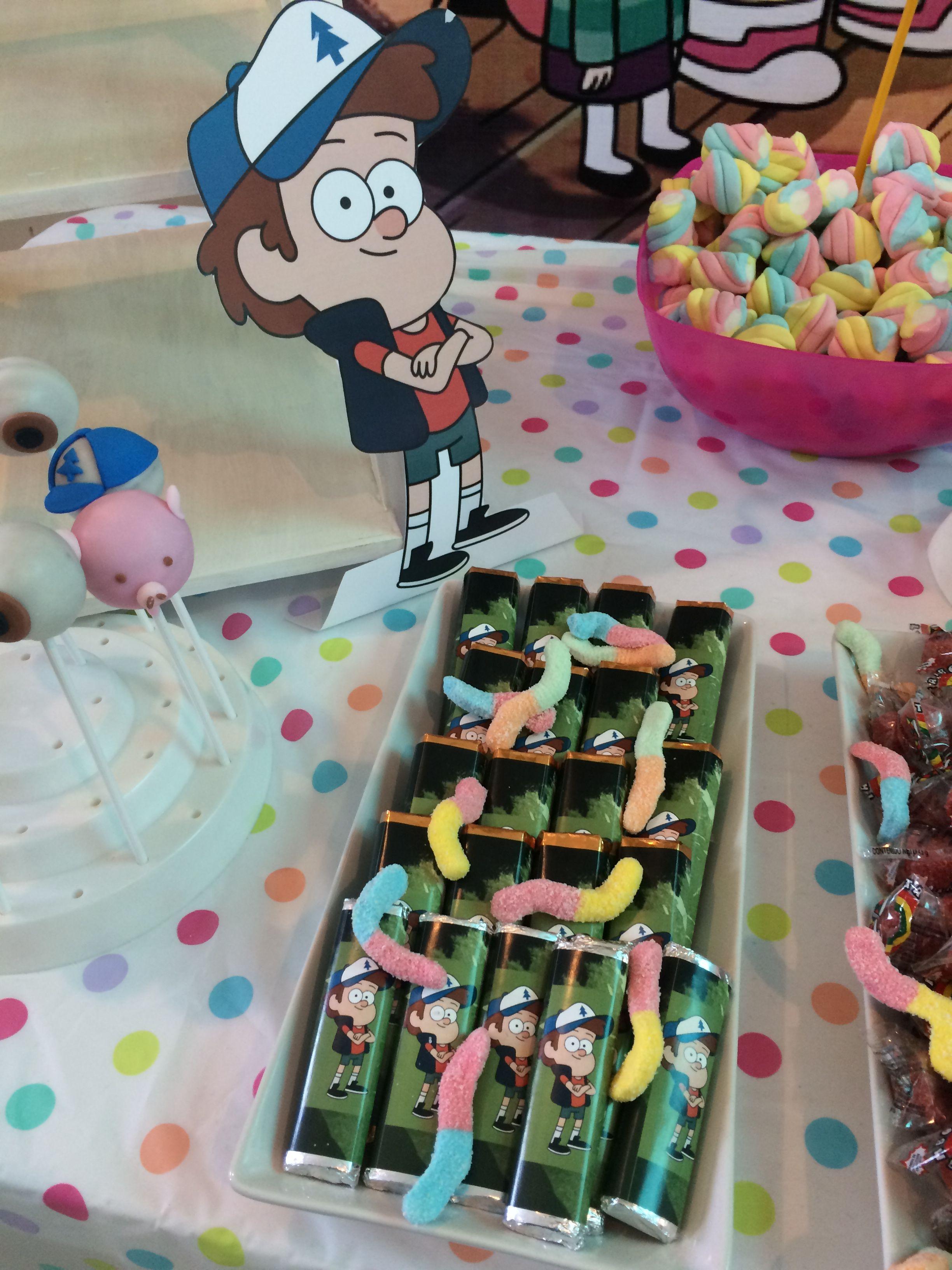 Gravity Falls Party Chocolates Dipper Gusanos Agridulces