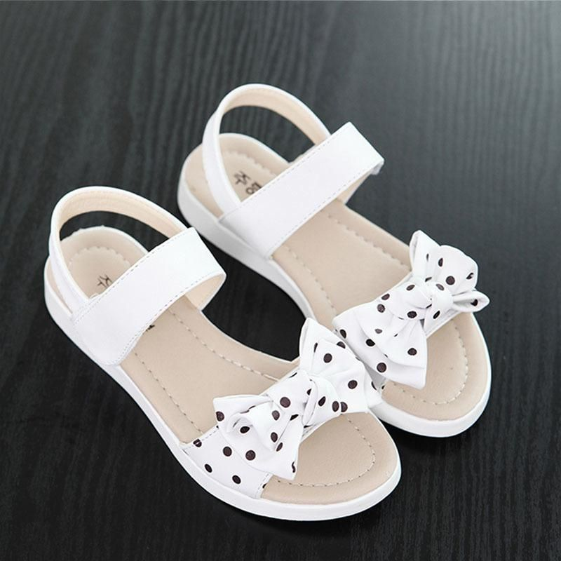 New girl/'s kids sandals pink bow buckle closure casual open toe summer