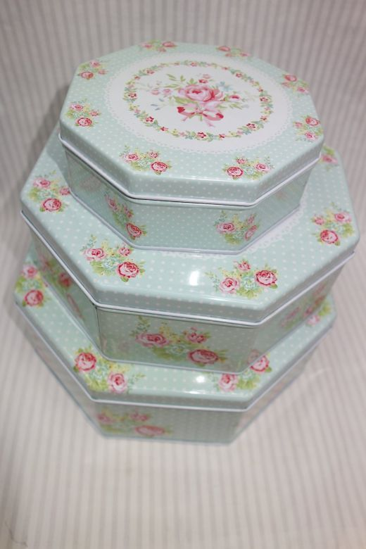 Superb ... Set Of 3 Cookie Tins Shabby Chic Decorative Storage Set Of 3 Cookie  Tins Cookie Storage Tins, Shabby Chic Floral Decorgreat Kitchen  Decoroctagon Shape.