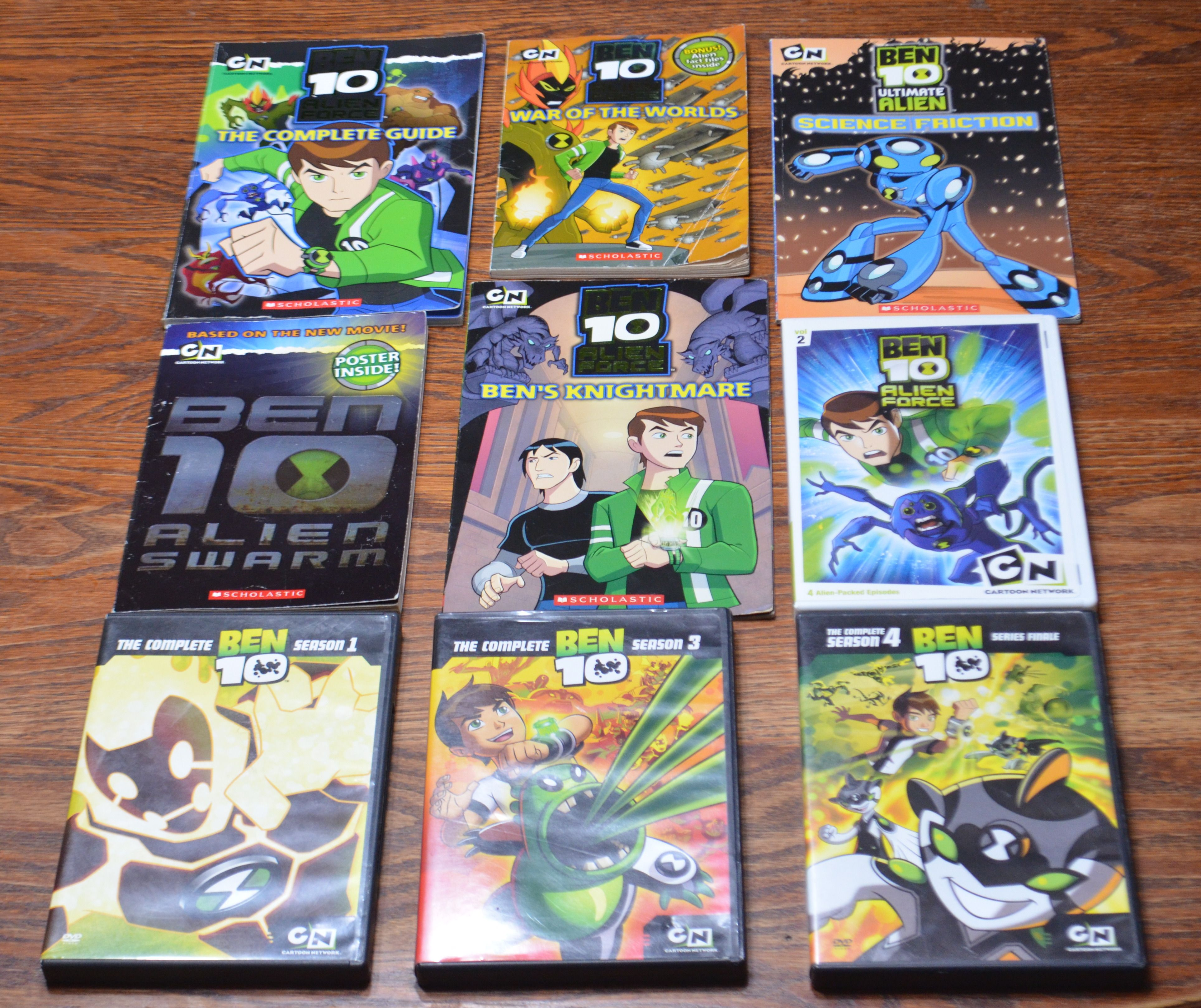 Ben 10 lot includes 5 paperbacks, and 4 DVDs