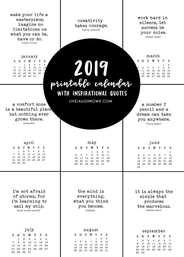 2019 Free Printable Calendar is truly inspiring due to all