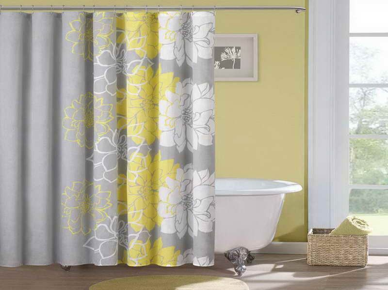 Most Beautiful Shower Curtains With Grey Color Yellow Shower