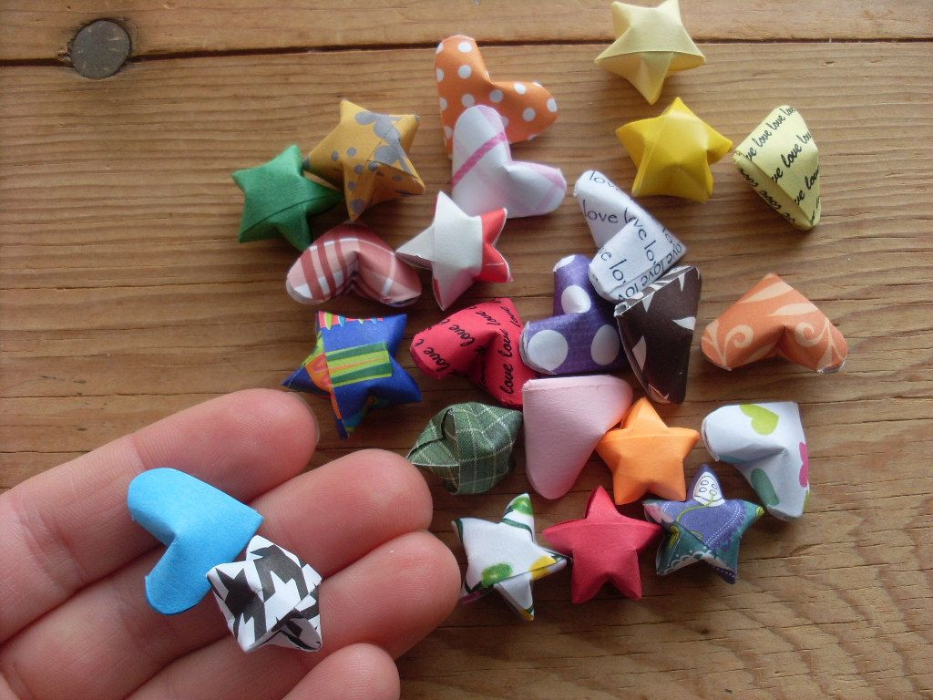 Grab Bag of Origami Hearts and Stars, set of 24.  Party Favor, Sample Bag, Assorted Paper Designs, Party Supplies, Bargain Priced.. $5.00, via Etsy.