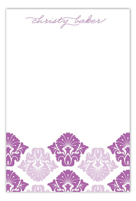 Radiant Orchid Damask Print Flat Note Card