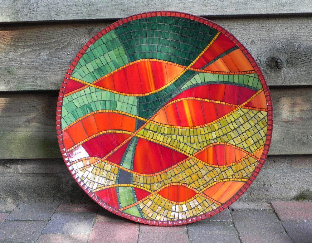 Mosaikkunst abstrakte Glasmalerei Mosaik Schale in rot grün