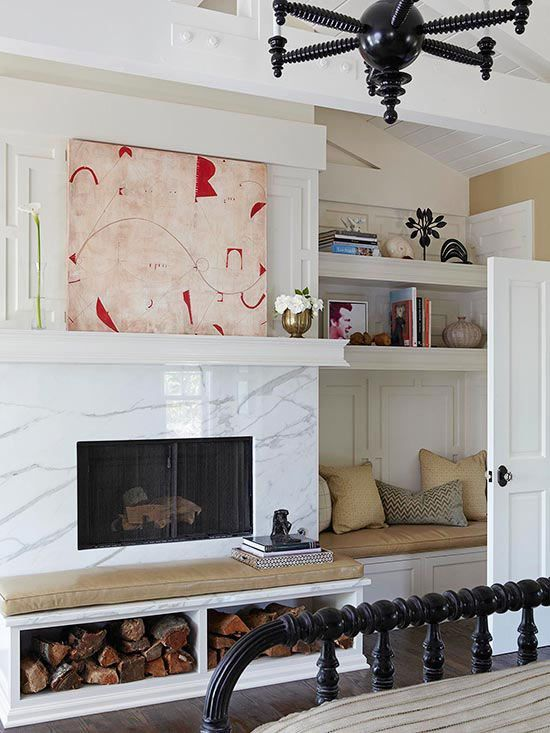 Fireplace With Bench And Wood Storage Google Search