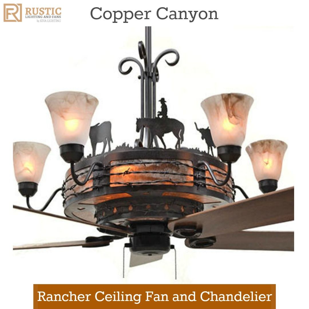 Copper canyon rancher ceiling fan and chandelier western copper canyon rancher ceiling fan and chandelier western rusticdecor ranchlife arubaitofo Image collections