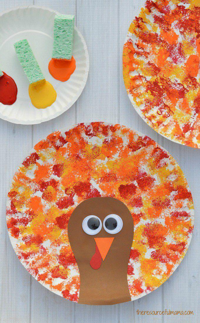Sponged Painted Thanksgiving Turkey Craft -   20 fall crafts tree ideas