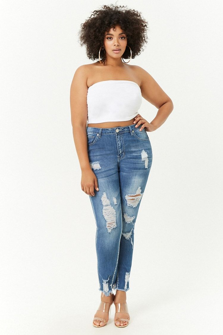 e74f742efd8 Product Name Plus Size Tattered   Faded Skinny Jeans